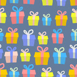 Gifts seamless pattern. Vector background of colored boxes with Stock Photo