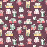 Gifts seamless pattern on violet Stock Photos