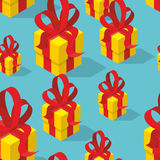 Gifts seamless pattern. Yellow gift box and bow.  Stock Photo