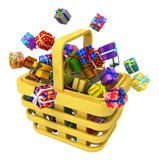 Gifts Selection Basket. Gift large group in shopping basket 3d illustration, horizontal, isolated, over white Royalty Free Stock Photography