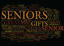 Gifts For Seniors Word Cloud Concept. Gifts For Seniors Text Background Word Cloud Concept Royalty Free Stock Photos