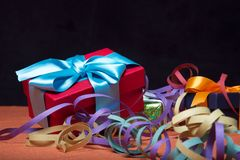 Gifts with serpentines Royalty Free Stock Photo