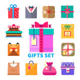 Gifts set in flat style Stock Image