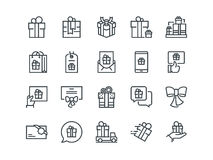 Gifts. Set of outline vector icons. Includes such as Gift Card, Present Offer, Ribbon and other.  Royalty Free Stock Images