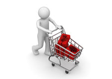 Gifts in shopping cart Stock Photos