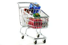 Gifts in Shopping Cart Royalty Free Stock Image