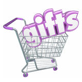 Gifts Shopping Cart 3d Word Buying Products Store Customer Royalty Free Stock Image
