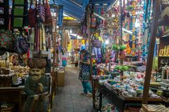 Gifts shops in Little India district, Singapore. Singapore, Singapore - January 31, 2015: Gift and souvenir shops inside a market in Little India, which is an royalty free stock images