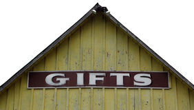 Gifts sign on abandoned store Royalty Free Stock Images