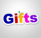 Gifts Sign Shows Box Giftbox And Gift-Box Royalty Free Stock Images