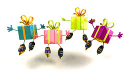 Gifts skating. 3d generated picture Royalty Free Stock Images