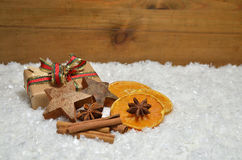 Gifts Snow Christmas wooden background Royalty Free Stock Photo