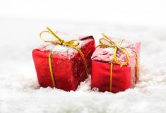 Gifts on snow Royalty Free Stock Photo