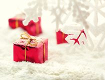 Gifts on snow Stock Images