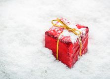 Gifts on snow Stock Photos