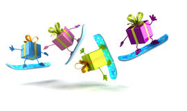 Gifts snowboarding Royalty Free Stock Photo