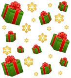 Gifts and snowflakes Royalty Free Stock Image