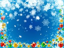 Gifts and snowflakes beautiful blue background Royalty Free Stock Images