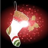 Gifts and sock with Christmas background and greeting card vector Royalty Free Stock Photos