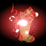 Gifts and sock with Christmas background and greeting card vector Stock Photos