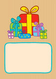 Gifts on a striped background Royalty Free Stock Photography