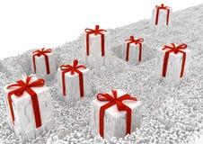 Gifts Surreal Shredded. Gifts celebration holiday large surreal shredded fragments 3d illustration, white horizontal background corner isolated Royalty Free Stock Photos