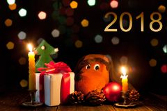Gifts and the symbol of the New year 2018. Christmas decorations and stock image