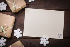 Gifts on the table. Gifts on the wooden table. Copy space Stock Photography