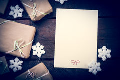 Gifts on the table. Gifts on the wooden table. Copy space Stock Photos