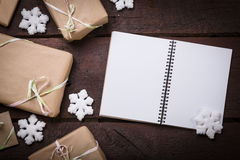 Gifts on the table. Gifts on the wooden table. Copy space Royalty Free Stock Images