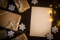 Gifts on the table. Gifts on the wooden table. Copy space Stock Photo