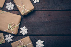 Gifts on the table. Gifts on the wooden table with copyspace Royalty Free Stock Image
