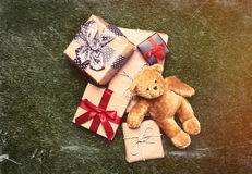 Gifts and teddy bear Stock Photography
