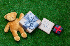 Gifts and teddy bear Royalty Free Stock Photo