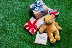 Gifts and teddy bear Stock Image