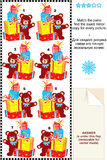 Gifts and teddy bear match mirrored images riddle Stock Photography