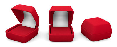 GIFTS. Three Empty boxes for rings, red on white background Royalty Free Stock Image