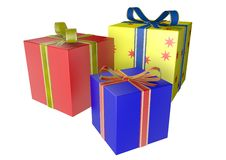Gifts. Three gifts on white background Royalty Free Stock Photo