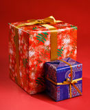 Gifts tied with a ribbon Stock Photos