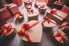 Gifts tied with ribbon and red heart. Valentine's day. Stock Images