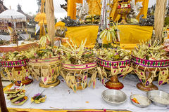 Gifts to the spirits in Hindu ceremony Nusa Penida-Bali, Indonesia Royalty Free Stock Image