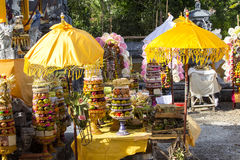 Gifts to the spirits in Hindu ceremony Nusa Penida-Bali, Indonesia Stock Photography