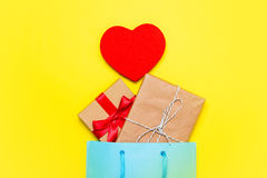 Gifts, toy and bag Royalty Free Stock Photography