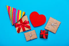 Gifts, toy and hat Stock Photos