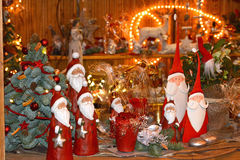 Gifts and toys on Christmas market Royalty Free Stock Photo