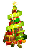 Gifts tree with Merry Christmas ribbon Stock Image