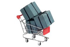 Gifts in trolley Royalty Free Stock Image