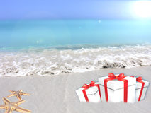Gifts of tropical beach. Holiday Gifts on a tropical beach premise stock illustration