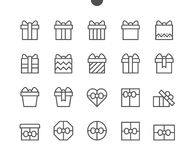 Gifts UI Pixel Perfect Well-crafted Vector Thin Line Icons 48x48 Ready for 24x24 Grid for Web Graphics and Apps with. Editable Stroke. Simple Minimal Pictogram Royalty Free Stock Photos