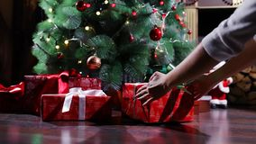 Gifts Under the Christmas Tree stock video footage